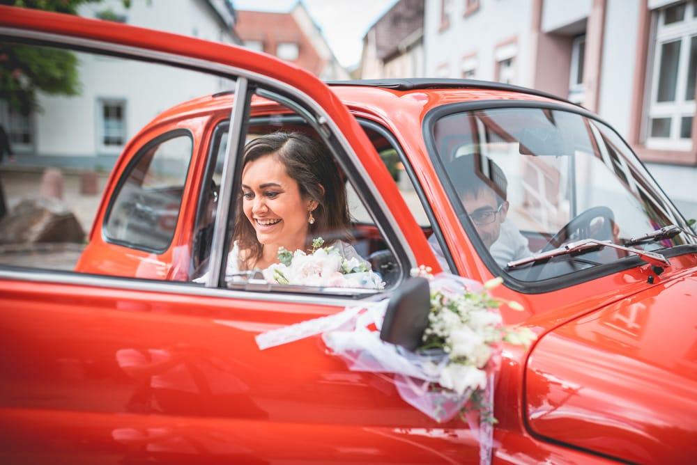 Hochzeit Freiburg Braut Auto