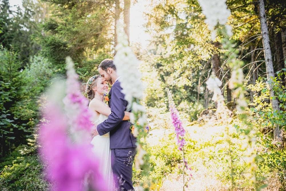 Hochzeitsfoto Schwarzwald Brautpaarshooting Sonnenuntergang