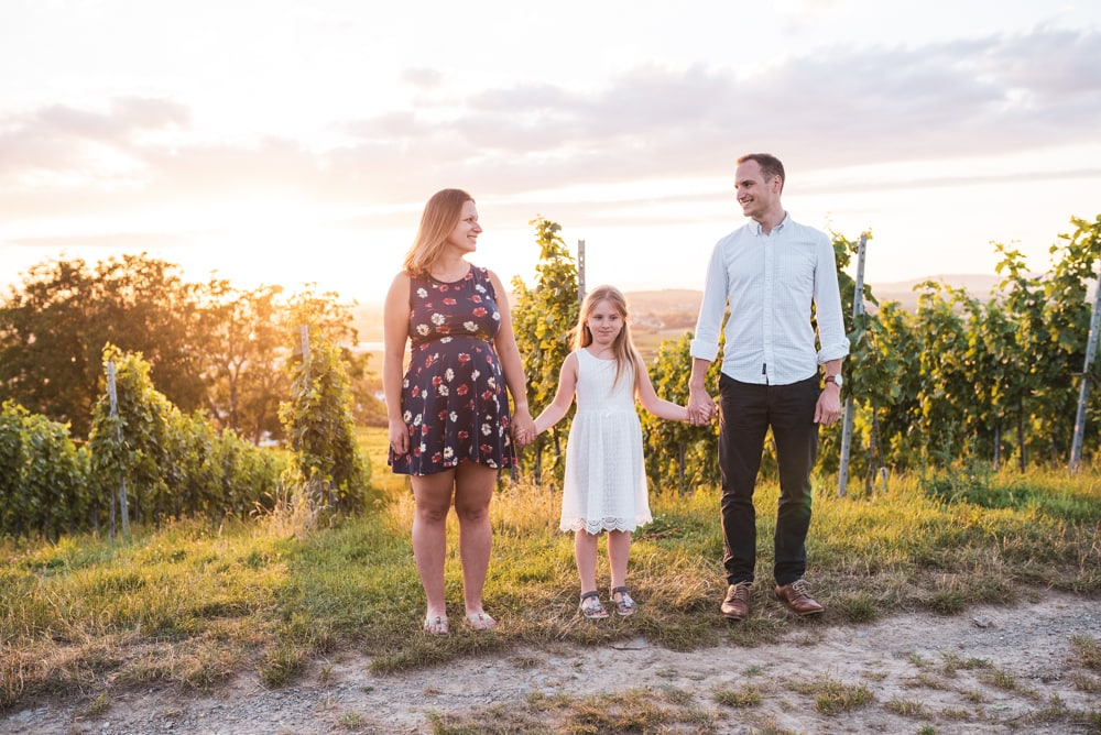 Familienfoto im Sonnenuntergang Freiburg